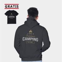 Vallenca Jaket Hoodie Pria Outdoor Camping Hitam Gratis Kaos Keren