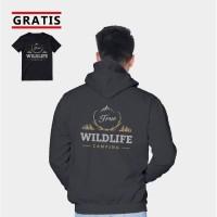 Vallenca Jaket Hoodie Pria Wildlife Campng Hitam Gratis Kaos Keren