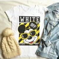 Kaos white micky kaos cewek tumblr tee