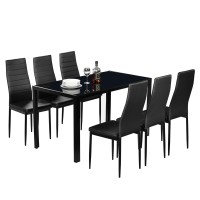Jual Premium Us Shipping Dining Table Set Glass Steel 7 Piece Set For 6 Kab Bogor Kartunshop Tokopedia
