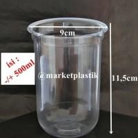 Gelas plastik Oval/gelas oval/cup pp oval/cup U/CUP OVALE U 16OZ@50PCS