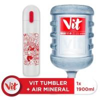 VIT Air Mineral 19liter (1 galon)+ VIT TUMBLER Olahraga Santuy (White)