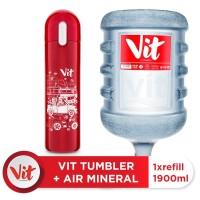 VIT Air Mineral 19liter (Refill) + VIT TUMBLER Macet Santuy (Red)