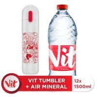 VIT Air Mineral 1500ml Box (12pcs)+VIT TUMBLER Olahraga Santuy (White)