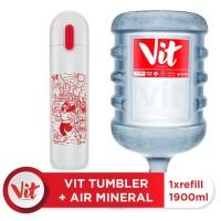 VIT Air Mineral 19liter (Refill) + VIT TUMBLER Olahraga Santuy (White)