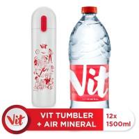 VIT Air Mineral 1500ml Box (12 Pcs) + VIT TUMBLER Kerja Santuy (White)