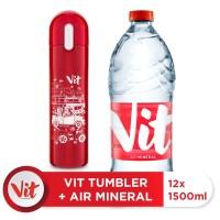 VIT Air Mineral 1500ml Box (12 Pcs) + VIT TUMBLER Macet Santuy (Red)