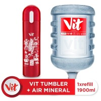 VIT Air Mineral 19liter (Refill) + VIT TUMBLER Kerja Santuy (Red)
