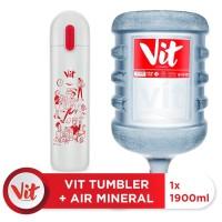 VIT Air Mineral 19liter (1 galon)+ VIT TUMBLER Kerja Santuy (White)