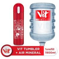 VIT Air Mineral 19liter (Refill) + VIT TUMBLER Olahraga Santuy (Red)