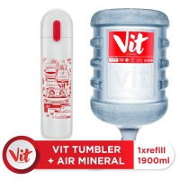 VIT Air Mineral 19liter (Refill) + VIT TUMBLER Macet Santuy (White)