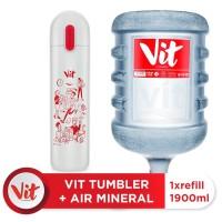 VIT Air Mineral 19liter (Refill) + VIT TUMBLER Kerja Santuy (White)