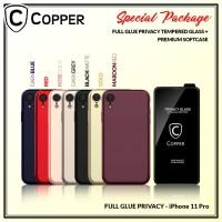 Iphone 11 Pro - Paket Bundling Tempered Glass Privacy Dan Softcase