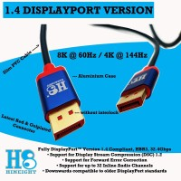 HINEIGHT ( H8 ) - KABEL DISPLAYPORT VERSI 1.4 @ 60Hz 2 Meter