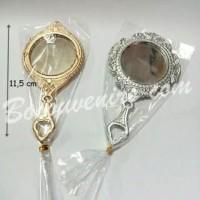 Souvenir pernikahan cermin gagang emas perak murah