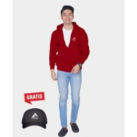 Vallenca Jaket Zipper Campinx Merah Original Gratis Topi Eklusive