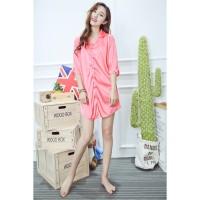 Kemeja Baju tidur Daster Baju tidur Kancing Piyama Satin Merah muda