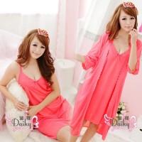 Baju tidur Daster Kimono Seksi piyama 1 set 2 pcs Warna merah