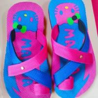 Sendal Jepit Nama Motif Hello Kity Pink Biru