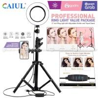 Paket Ring Light 16CM Tripod 1.6M Lampu Beauty MultiColor Make Up Vlog