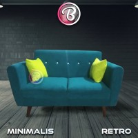 Baru!! Sofa Retro 2 Seat BORNEO yang Elegan - Minimalis (DARK GREEN)