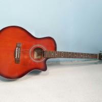 Gitar Akustik Yamaha Jumbo Tipis Merk Yamaha Sunburst Murah