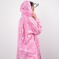 Jas hujan wanita / jas hujan poncho / GRC / polkadot - 8033 - Merah Mu
