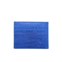 VERMONT V83 - K001 Blue Croco Genuine Leather Slim Card Holder