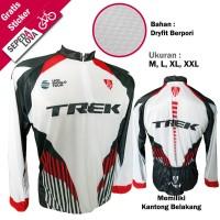 Jersey Sepeda Baju MTB XC Road Bike Trek Putih - Lengan Panjang