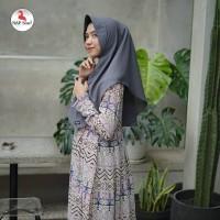 Warna Grey. Khimar Aisyah