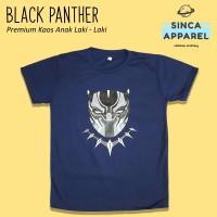 Baju Kaos Anak Laki - Laki Black Panther Lengan Pendek Premium