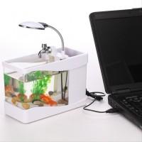 Akuarium Mini - USB Desktop Aquarium Mini Fish Tank with Running Wa