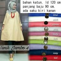 Pakaian Baju Atasan Wanita Muslim Tunik Jumbo 4 Polos Bigsize Ld120Cm