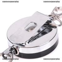 1pc 60cm Steel Wire Rope Retractable Carabiner Survival Keychain Keyring Black K