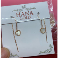 Anting emas asli hana gold kadar 750 75% 18k rosegold diana love hati