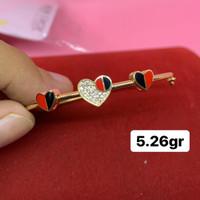 Gelang tangan minimalis love merah hitam emas asli kadar 700 70% 18k
