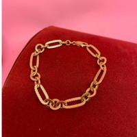 gelang rantai tangan emas asli kadar 700 70% 18k 22 holo trixie chainn