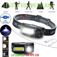 Senter Kepala Headlight Flashlight Headlamp LED 3 Modes COB - Original