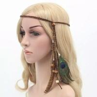 Hiasan Rambut Bulu Merak Headband Bohemian Indian Headpiece thumbnail