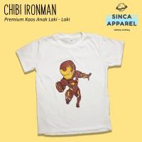 Baju Kaos Anak Laki - Laki Chibi Ironman Lengan Pendek Premium