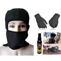 Paket Masker ala Jepang Sarung Tangan Kain Hitam Parfum Helm Serbaguna