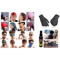 Paket Masker Bandana Multifungsi Sarung Tangan Kain Hitam Parfum Helm