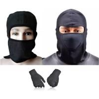 Paket Masker ala Jepang Masker Ninja Sarung Tangan Kain Hitam Multifun