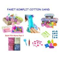 PAKET KOMPLIT 1 KG Pasir Kapas Cotton Sand Mainan Edukasi Anak