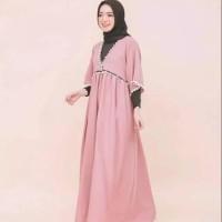 Pakaian Baju Atasan Wanita Muslim Long Dress Pom pom rok maxi panjang