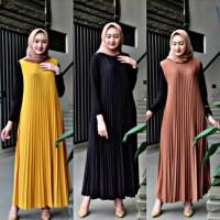 Pakaian Baju Atasan Wanita Muslim Long Dress Plisket Gamis Rok Panjang