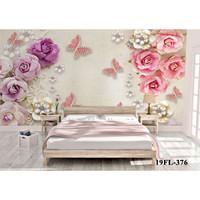 Wallpaper Custom Motif Bunga Pink