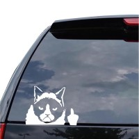 Sticker Decal Mobil Cutting Vinyl Reflektif Kucing Grumpy Cat