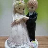 TOPPERS KUE / WEDDING CAKE / HIASAN PAJANGAN BAHAN FIBER 19CM PMW02