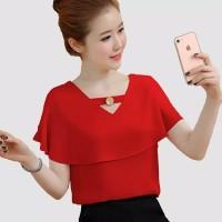 Blus double Layer gaya Korea Variasi kancing Emas